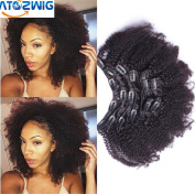 ATOZWIG Clip In Human Hair Extensions 25cm - 70cm Kinky Curly Clip Ins Virgin Mongolian Afro Kinky Curly Human Hair Clip In Extensions