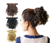 Better-Home Women Short Screw Curly Hook and loop Strap Ponytails Hairpiece Hair Extensions with Clip in