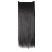 Women 70cm long straight natural black hair 1Pc with 5Clips Half Full Head Clip In Hair Extension