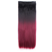 Women long straight natural black to wine red hair 1Pc with 5Clips 3/4 Full Head In Hair Extension