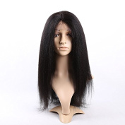 Doubleleafwig Kinky Straight 100% Brazilian Virgin Human Hair 4x 4 Silk Base Glueless Lace Front Wig Natural Colour