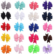 20 colours 8.9cm Solid Grosgrain Ribbon Pinwheel Boutique Hair Bows Alligator Clips for Baby Girls Kids Teens and Children