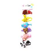 6Pcs Cute Animal Little Girl Hair Holder Girl's Hair Rope Ponytail Kids Holder Elastic Six Animal
