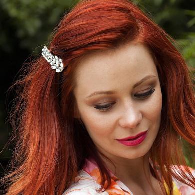 Crystal Hair Clip Diamante Hairclip Leaf Barrette Wedding Hair Clip Rhinestone Hair Accessory Bridesmaid Hair Grip Hair Jewellery (Silver)