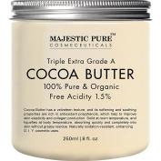 Majestic Pure Cocoa Butter, Organic Raw Unrefined Premium Grade, 240ml