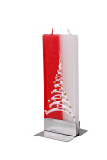 Flatyz Twin Wick Unscented Thin Flat Candle - Christmas Tree Red & White