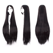 "MapofBeauty 40"" 100cm Black Long Straight Cosplay Costume Wig Fashion Party Wig"
