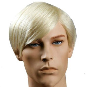 New Handsome Short Straight Men Wig Golden Blonde Colour Halloween Party Hair Wig