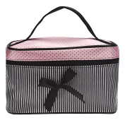 DATEWORK Satin Square Bow Stripe Cosmetic Bag