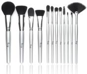 Qivange Makeup Brushes, Synthetic Makeup Brush Set Foundation Blush Eyeshadow Eyelash Lip Cosmetic Brush Kit(12pcs Silver) +Sponge Puff and Cosmetic Bag
