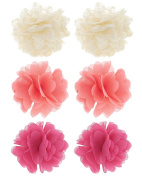 Capelli New York Girls Chiffon and Mesh Flower Clips Set Coral Combo One Size