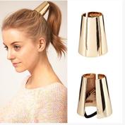 Tmalltide Women Girl Gothic Punk Metal Hair Ponytail Cuff Band Wrap Holder Tie