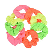 Set of 8 Neon Colour Solid Scrunchies