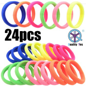 QY 24PCS Bright Colour High Super Elasticity Elastic Bands Strong Seamless Elastic Hair Tie