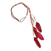NUOLUX Headband,Indian Peacock Feather Tassels Weave Headdress Hippie Headband