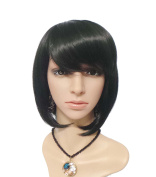 JoySusie Black Short Straight Wig Attractive Women Short Straight Wig with Free Wig Cap and Wig Comb -- Black