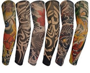 Kingree 6pcs Fake Temporary Tattoo Sleeves, Biker Inspired Body Art Arm Stockings with Most Popular Designs such as Tribal, Skull, Dragons, Tigers, Figures etc.,