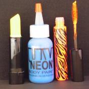 BLUE NEON Fairy Halloween Make Up Set w/ Cream Stick, UV Body Paint, & Gel Mascara, Black Light, Rave, Party