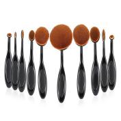 Anself 10pcs Oval Makeup Brush Set Soft Toothbrush Foundation Cosmetic Cream Powder Blush Kit