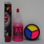 Bloody Baby Doll Make Up Set for Halloween w/ UV Neon 3 Colour Cream Palette, Body Paint, & Blood, Black Light, Rave, Party