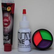 Vampire Make Up Set for Halloween w/ UV Neon 3 Colour Cream Palette, Body Paint, & Fake Blood, Black Light, Rave, Party
