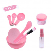 Teenitor Lady Facial Care Mask Facemask Mixing Tool Sets, Bowl Stick Brush Gauge Cleaning Mat 9 in 1 Set Pink .  By FBA]