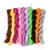 Teanfa 10pcs 1mm Handcraft Beading Macrame Bracelet Thread Chinese Knot String Braided Rope Cord