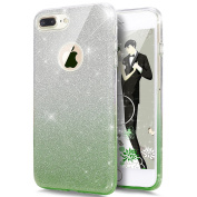 iPhone 6S Case,iPhone 6 Case,ikasus 12cm iPhone 6S/6 Back Cover [Bling Glitter Sparkly] Premium 3 Layer Hybrid Semi-transparent Shinning Sparkle Protective Bumper Bling Glitter Case - Gradient Green