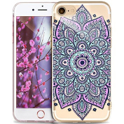 iPhone 5S Case,iPhone SE Case,iPhone 5 Case,ikasus Ultra Thin Soft TPU Datura Mandala Sun Lace Flowers Soft Silicone Rubber Bumper Case,Crystal Clear Soft Floral Silicone Case for iPhone 5S 5 SE,#9