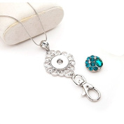 Simple Ever Lanyard Snap Badges Holder with 45cm Chain and 5pcs 5.5mm 18/20mm Size Snap Button Charms Jewellery