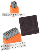 ImpressArt Basic Bridgette Numbers Metal Stamp Set Bundled with Basic Bridgette Lowercase Metal Stamp Set and Epic Crafts Microfiber Cloth