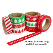 Crafty Rabbit Christmas II Washi Tape - Set of 8 Rolls - 80m Total - Red, Green