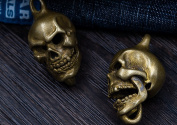 Brass Skull Retro Keychain Open Mouth Handmade Key Ring Creative Accessories