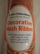 SCM Decorative Mesh Ribbon Orange With Gold Glimmer