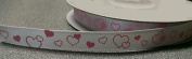 White Satin Pink Heart Printed Ribbon - 5 Yards
