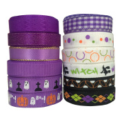 DUOQU 24 Yards 1cm 12 Styles ( 12x 2yd ) New Style Halloween Ribbon With Grosgrain Ribbon Satin Ribbon Plaid Ribbon Printed Halloween Element Pattern Valued Packing Purple Series