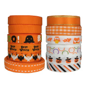 DUOQU 24 Yards 1cm 12 Styles ( 12x 2yd ) New Style Halloween Ribbon With Grosgrain Ribbon Satin Ribbon Plaid Ribbon Printed Halloween Element Pattern Valued Packing Orange Series