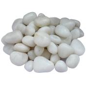 ITOS365 Pebbles Glossy Home Decorative Vase Fillers White Stone, 1 KG