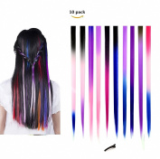 FESHFEN 10 Pcs Ombre Colours Set Straight Clip on in Hair Extensions Hairpieces 46cm Long Remy Hair Coloured Party Highlights Hair Accessories DIY Hair Decoration Cosplay with Gift Hairpin
