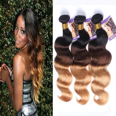 Kapelli Hair(TM) Ombre Hair Brazilian Body Wave Human Virgin Hair Remy Hair Extensions Weave Weft 3 Bundles/lot, 300g Total (100g Each) #T1b/4/27 (60cm 60cm 60cm )