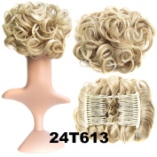 SWACC Short Messy Curly Dish Hair Bun Extension Easy Stretch hair Combs Clip in Ponytail Extension Scrunchie Chignon Tray Ponytail