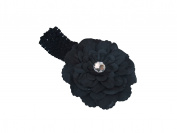 FuzzyGreen® Fashion Baby Black Peony Flower Hair Clip Bow with crochet headband