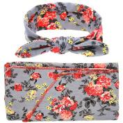 OULII Baby Swaddle Sack Wrapped Blanket Rabbit Ears Elastic Flowers Bowknot Headband Set