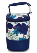 Insulated Portable Baby Bottle Bag (Blue Flower) - attractive - large baby bottle bag 4 on the go travel or daycare - Insulated for Warm or Cool temperature- the best bottle holder tote available