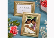 Beaded Design Metal Place Card or Photo Frame Gold