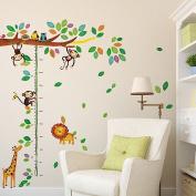 Wallpark Cute Giraffe Lion & Naughty Monkey Climbing Tree Height Sticker, Growth Height Chart Measuring Removable Wall Decal, Children Kids Baby Home Room Nursery DIY Decorative Adhesive Art Wall Mural