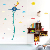 Wallpark Cartoon Giraffe on Aeroplane Height Sticker, Growth Height Chart Measuring Removable Wall Decal, Children Kids Baby Home Room Nursery DIY Decorative Adhesive Art Wall Mural