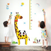 Wallpark Cartoon Panda Cute Giraffe Height Sticker, Growth Height Chart Measuring Removable Wall Decal, Children Kids Baby Home Room Nursery DIY Decorative Adhesive Art Wall Mural