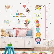 Wallpark Cute Animals Balloon Coloured Flags Photo Frame Height Sticker, Growth Height Chart Measuring Removable Wall Decal, Children Kids Baby Home Room Nursery DIY Decorative Adhesive Art Wall Mural