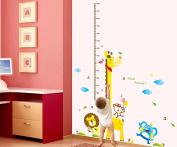 Wallpark Lovely Cartoon Monkey Lion Elephant Giraffe Height Sticker, Growth Height Chart Measuring Removable Wall Decal, Children Kids Baby Home Room Nursery DIY Decorative Adhesive Art Wall Mural